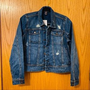 A Pea In The Pod Distressed Denim Jacket Size M